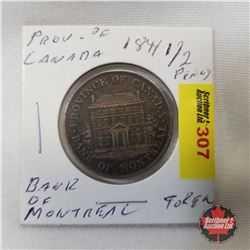 Bank of Montreal Province of Canada Half Penny 1844