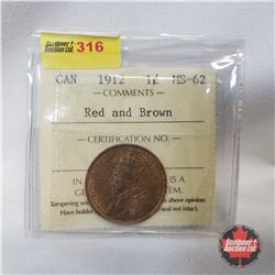 Canada One Cent 1912 (ICCS Certified Red and Brown MS-62)