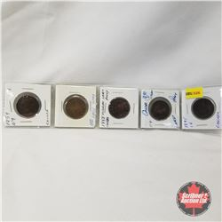 Canada One Cent - Strip of 5: 1859; 1882H; 1888; 1890H; 1895