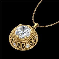 1.11 CTW VS/SI Diamond Solitaire Art Deco Necklace 18K Yellow Gold - REF-315X2T - 36925