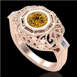 1.13 CTW Intense Fancy Yellow Diamond Engagement Art Deco Ring 18K Rose Gold - REF-309A3X - 37827