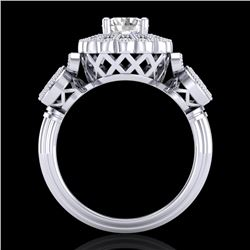 1.5 CTW VS/SI Diamond Solitaire Art Deco 3 Stone Ring 18K White Gold - REF-300M2H - 37058