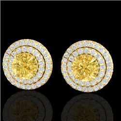 2 CTW Citrine & Micro Pave VS/SI Diamond Stud Earrings Double Halo 18K Yellow Gold - REF-85T5M - 214