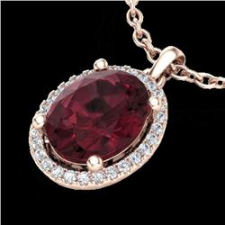 2.50 CTW Garnet & Micro Pave VS/SI Diamond Necklace Halo 14K Rose Gold - REF-39T5M - 21080