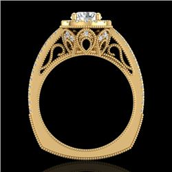 1.55 CTW VS/SI Diamond Solitaire Art Deco Ring 18K Yellow Gold - REF-263X6T - 37117
