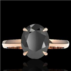 5 CTW Black VS/SI Diamond Designer Inspired Solitaire Ring 14K Rose Gold - REF-161W8F - 22054