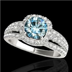2 CTW Si Certified Blue Diamond Solitaire Halo Ring 10K White Gold - REF-180N2Y - 34003