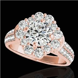 2.81 CTW H-SI/I Certified Diamond Solitaire Halo Ring 10K Rose Gold - REF-409M3H - 33959