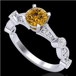 1.03 CTW Intense Fancy Yellow Diamond Engagement Art Deco Ring 18K White Gold - REF-121W8F - 37679