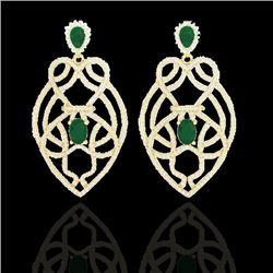 7 CTW Emerald & Micro VS/SI Diamond Heart Earrings Designer 14K Yellow Gold - REF-381H8A - 21137