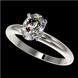 1.25 CTW Certified VS/SI Quality Oval Diamond Solitaire Ring 10K White Gold - REF-370H8A - 32913