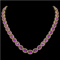 45.16 CTW Amethyst & Diamond Halo Necklace 10K Yellow Gold - REF-560M2H - 40594