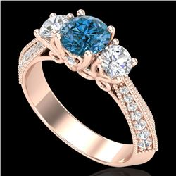 1.81 CTW Intense Blue Diamond Solitaire Art Deco 3 Stone Ring 18K Rose Gold - REF-236T4M - 38028