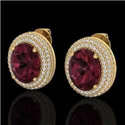 9 CTW Garnet & Micro Pave VS/SI Diamond Earrings 18K Yellow Gold - REF-153H5A - 20227