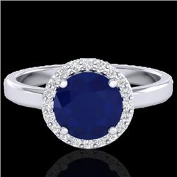 2 CTW Sapphire & Halo VS/SI Diamond Micro Pave Ring Solitaire 18K White Gold - REF-58K2W - 21643