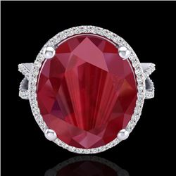 12 CTW Ruby & Micro Pave VS/SI Diamond Halo Ring 18K White Gold - REF-143N6Y - 20965