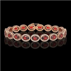 14.63 CTW Garnet & Diamond Halo Bracelet 10K Rose Gold - REF-228K2W - 40497