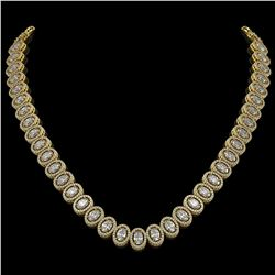 34.72 CTW Oval Diamond Designer Necklace 18K Yellow Gold - REF-6267T8M - 42760