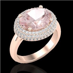 4.50 CTW Morganite & Micro Pave VS/SI Diamond Ring 14K Rose Gold - REF-155H3A - 20918