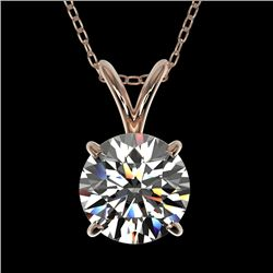 1.25 CTW Certified H-SI/I Quality Diamond Solitaire Necklace 10K Rose Gold - REF-240F2N - 33202