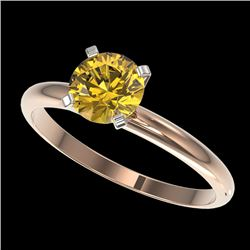 1.01 CTW Certified Intense Yellow SI Diamond Solitaire Engagement Ring 10K Rose Gold - REF-180F2N -