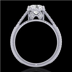 1.25 CTW VS/SI Diamond Art Deco Ring 18K White Gold - REF-330F2N - 36905