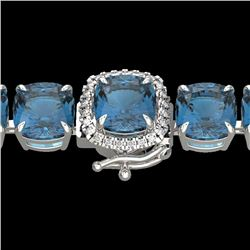 35 CTW London Blue Topaz & Micro VS/SI Diamond Halo Bracelet 14K White Gold - REF-152W2F - 23330