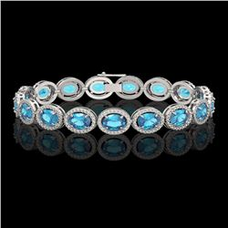 24.32 CTW Swiss Topaz & Diamond Halo Bracelet 10K White Gold - REF-252K8W - 40634