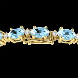 10 CTW Aquamarine & VS/SI Diamond Eternity Bracelet 10K Yellow Gold - REF-102A2X - 21441