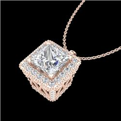 1.93 CTW Princess VS/SI Diamond Solitaire Micro Pave Necklace 18K Rose Gold - REF-436H4A - 37173