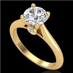 1.36 CTW VS/SI Diamond Solitaire Art Deco Ring 18K Yellow Gold - REF-405A2X - 37291