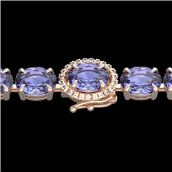 32 CTW Tanzanite & VS/SI Diamond Tennis Micro Halo Bracelet 14K Rose Gold - REF-328T9M - 23441