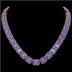 79.99 CTW Tanzanite & Diamond Halo Necklace 10K Rose Gold - REF-1704W2F - 41484