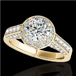 1.8 CTW H-SI/I Certified Diamond Solitaire Halo Ring 10K Yellow Gold - REF-178F2N - 34044