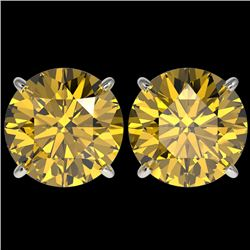 5 CTW Certified Intense Yellow SI Diamond Solitaire Stud Earrings 10K White Gold - REF-1380Y2K - 331