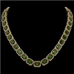 80.65 CTW Tourmaline & Diamond Halo Necklace 10K Yellow Gold - REF-1047H6A - 41497