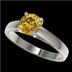 1.23 CTW Certified Intense Yellow SI Diamond Solitaire Ring 10K White Gold - REF-191N3Y - 36541