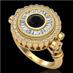 2.03 CTW Fancy Black Diamond Solitaire Engagement Art Deco Ring 18K Yellow Gold - REF-203W6F - 37900