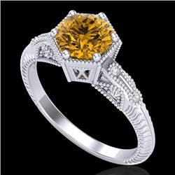 1.17 CTW Intense Fancy Yellow Diamond Engagement Art Deco Ring 18K White Gold - REF-180N2Y - 38036