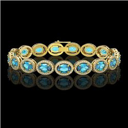 24.32 CTW Swiss Topaz & Diamond Halo Bracelet 10K Yellow Gold - REF-252N8Y - 40636