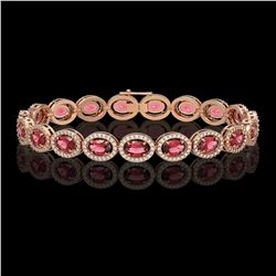 13.87 CTW Tourmaline & Diamond Halo Bracelet 10K Rose Gold - REF-271F6N - 40470