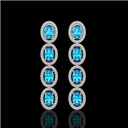 6.28 CTW Swiss Topaz & Diamond Halo Earrings 10K White Gold - REF-103M6H - 40535