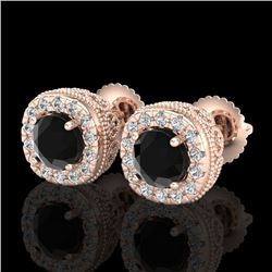 1.69 CTW Fancy Black Diamond Solitaire Art Deco Stud Earrings 18K Rose Gold - REF-121T8M - 37990