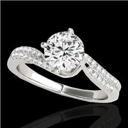 1.2 CTW H-SI/I Certified Diamond Bypass Solitaire Ring 10K White Gold - REF-161K8W - 35109