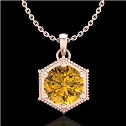 0.82 CTW Intense Fancy Yellow Diamond Art Deco Stud Necklace 18K Rose Gold - REF-114W5F - 38051