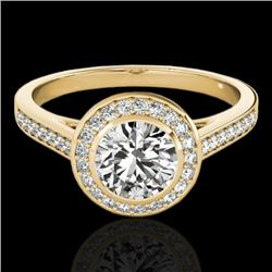 1.3 CTW H-SI/I Certified Diamond Solitaire Halo Ring 10K Yellow Gold - REF-168M4H - 33627