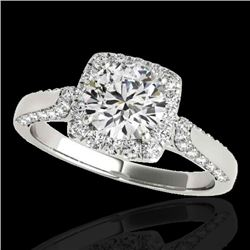 1.5 CTW H-SI/I Certified Diamond Solitaire Halo Ring 10K White Gold - REF-176F4N - 33364