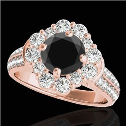 2.81 CTW Certified VS Black Diamond Solitaire Halo Ring 10K Rose Gold - REF-136T5M - 33962