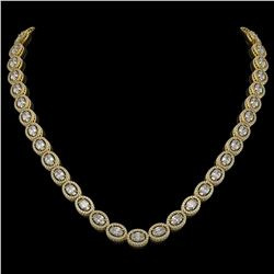 30.41 CTW Oval Diamond Designer Necklace 18K Yellow Gold - REF-5531M8H - 42616