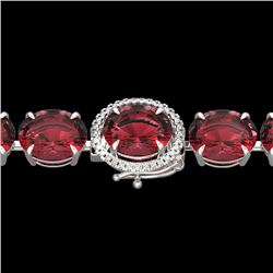65 CTW Pink Tourmaline & Micro VS/SI Diamond Halo Bracelet 14K White Gold - REF-772T2M - 22273
